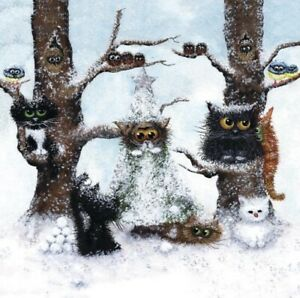 """""""Let It Snow"""" Tamsin Lord -Blank Greeting/Xmas Card Cats"""