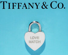 Tiffany & Co Sterling Silver Notes LOVE MATCH Heart Padlock Charm ONLY