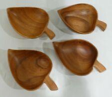 Vintage matching set of 4 monkey pod wood bowls in leaf shape