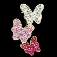 Three Butterfly Pink Clear Red Austrian Crystal Gold Tone Pin Brooch Jewelry New