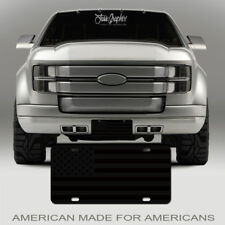 "Matte Black Tactical American Flag License Plate on 1/8"" Black Aluminum"