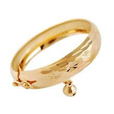 Lovely Costume Jewelry Gold Plated Heart Bell Bracelet Baby Kids Bangle Gift