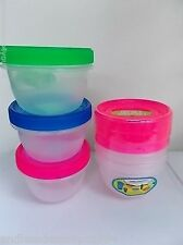 3 PORTION CONTROL FOOD CONTAINERS-6 PCs- SCREW ON LID-470ml/16 fl oz-MAGENTA
