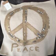 """NEW POTTERY BARN Metallic Peace Pillow Cover 20"""" Sequin Embroidered Beach Ocean"""