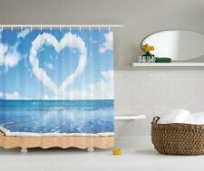 Sandy Beach Seaside Graphic Shower Curtain Nautical Shore Coastal Bath Decor