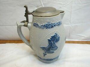 Vintage Stoneware Blue Salt Glaze Art Pottery Stein Pewter Lid Pitcher German