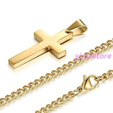 Boy Mens Chain 18K Gold Tone Stainless Steel Christian Cross Pedant Necklace