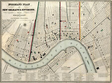 "1845 Map New Orleans and Environs Wall Art Poster Print Decor History 11""x15"""