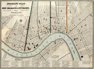 """1845 Map New Orleans and Environs Wall Art Poster Print Decor History 11""""x15"""""""