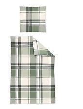 Bettwäsche Fein Biber 135x200 4tlg RV Irisette DAVOS Streifen grün wollweiß