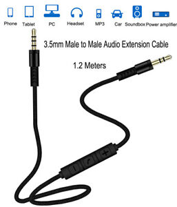 3.5mm Jack Male to Male Aux Audio Cable With MIC For Phone Car Headset Speaker