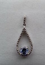 Platinum Overlay 925 Sterling Silver Tanzanite & Diamond Pendant #29