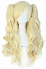 MapofBeauty Lolita Long Curly Clip on Ponytails Cosplay Wig Light Blonde
