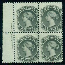 NOVA SCOTIA #8, 1¢ black, Inscription Block of 4, og, NH, VF