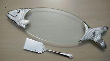 Servierplatte - Fischplatte mit Heber - versilbert - 56 cm lang - NEU