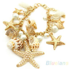 Women's Ocean Multi Starfish Sea Star Conch Shell Pearl Chain Beach Bracelet