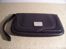 COLE HAAN WALLET TRAVEL BLACK PEBBLE LEATHER  MAKE UP CASE MIRROR
