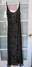 Nostalgia flesh black lace overlay ladies size small sleeveless gown dress