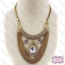 BIG COLLAR NECKLACE pendant CHAINS rhinestone crystal MESH vintage gold pltd