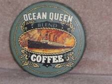 Vtg Ocean Queen Coffee Round Tin ~ RARE ~ Free S&H