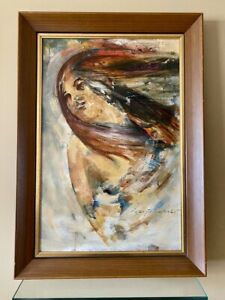 Vtg Signed Peter Gstalder Oil Painting Semi Nude Windswept Hair 1965 MCM Framed