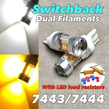 Front Turn Signal Parking Switchback DRL LED Bulb White Amber 7443 7444 W1 JAE