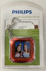 """Phillips Digital Photo Keychain Red 1.5"""" LCD 8 MB Rechargable Brand New Sealed"""