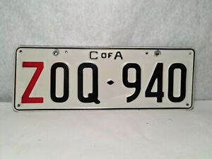 AUSTRALIA   Old steel GOVT    C of A NUMBER PLATE    ZOQ - 940     VERY NICE