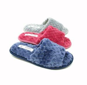 Womens Open Toe Mule Slippers Girls Ladies Peep UK Size 3 4 5 6 7 8 Grey Lot
