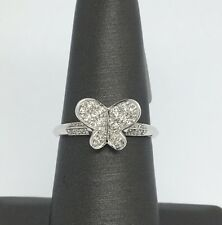 18K Solid White Gold Butterfly Natural Diamond Ring