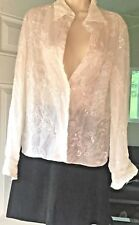 NINA RICCI Blouse Button Down White Sheer Floral Silk 8, 10,12, Made in France