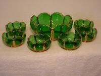 EAPG Riverside X-Ray Gilded Emerald Green 7 Piece Berry Set