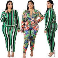 Womens Casual Dresses Coat Pants 2PCS Set Long Sleeve Plus Size Floral Costume