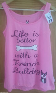PRIMARK LADIES Life Is Better With A French Bulldog PJ vest T-Shirt  PINK 6 - 20