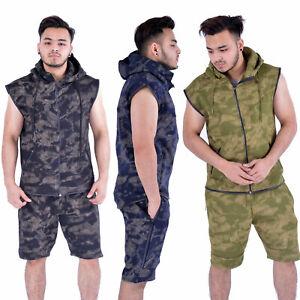 Men Camouflage Rotary Designer Print Shorts Shirts Top & Shorts Set NEW