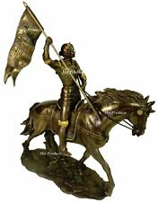 ROMAN CATHOLIC SAINT JOAN OF ARC on Horse W/ Flag Sculpture Statue Bronze Finish