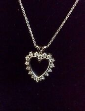 14k WHITE GLD 16 DIAMOND HEART PENDANT-Accurately Graded by Appraiser-SHIP FREE