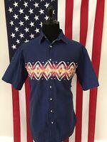 vtg Wrangler Rustler Tribal Pearl Snap Western Shirt men's XLT xl tall Blue 8638