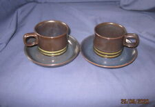 DENBY BOKHARA 2 X TEA COFFEE CUPS AND SAUCERS VGC