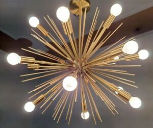12 Light Brushed Brass Sputnik Chandelier Modern Golden Sea urchin chandelier