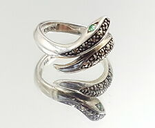 Art Deco Palladium and silver Emerald eyes Snake ring.