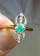 Art Deco Emerald Rose Cut Diamond Ring Wedding Engagement Jackie Kennedy Gold