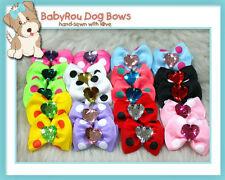 ~BabyRou~ 20 Dog Grooming Ribbon Pet Bows (Colourful Polka Bling Bling)