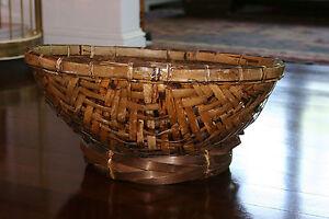 Vtg Mid Century/ Hollywood Regency Large Wicker Rattan Bamboo Basket / Bowl