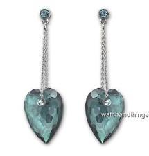 New Swarovski Nectar Indicolite Pierced Crystal Drop Earrings 1098468 $100