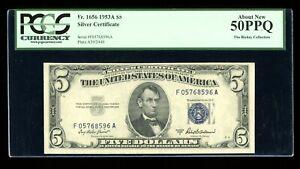 DBR 1953-A $5 Silver Fr. 1656 FA Block PCGS AU-50 PPQ Serial F05768596A