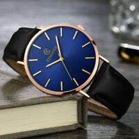 Fashion Men's Business Leather Band Watches Analog Quartz Round Wrist Watch Gift