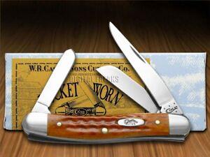 Case xx Medium Stockman Knife Pocket Worn Harvest Orange Bone 07403