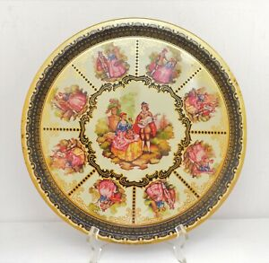 VINTAGE ENGLISH METAL TIN TRAY YOUNG LOVERS COURTSHIP SCENE