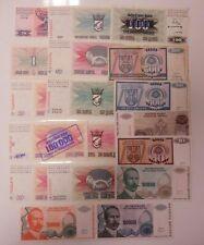 More details for bosnia herzegovina 18 different banknotes 1990s 1-100 million dinar inc o/prints